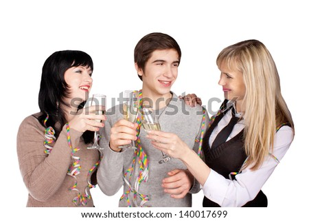 a group of people to celebrate holidays and gives gifts - stock photo
