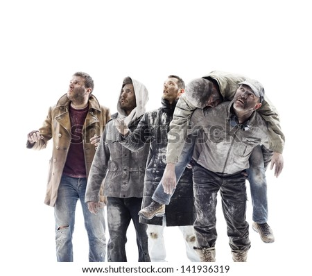 A group of people worried looking to the sky. White background - stock photo