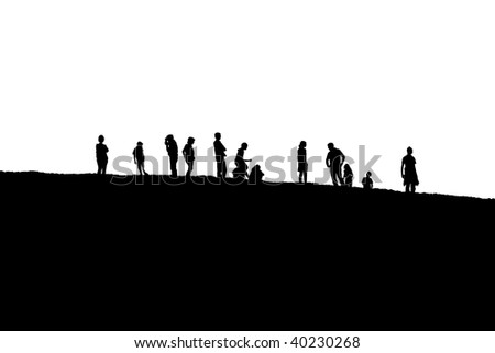 A group of peoples silhouettes up on a hill. Isolated on white. - stock photo