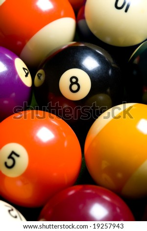 A group of pool ball or billiard balls forming a colorful background - stock photo