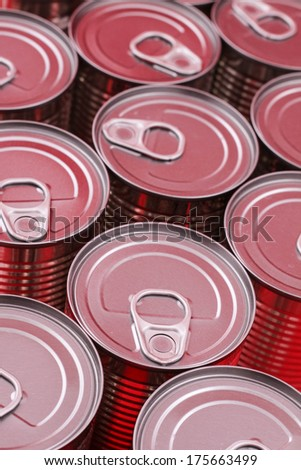 A group of red cans background  - stock photo