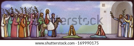 A group of religious figures hold branches. - stock photo