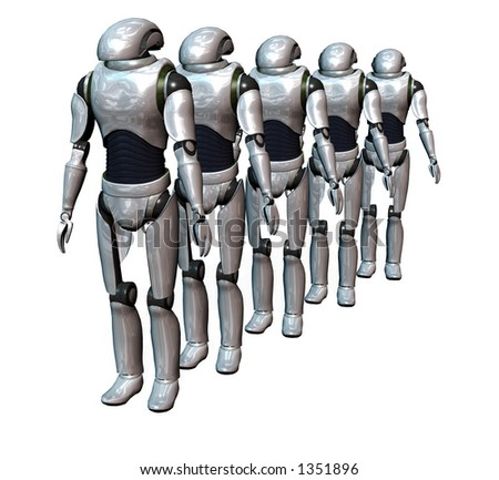 a group of robots prepared for an invasion - stock photo