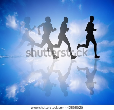 a group of runners - stock photo
