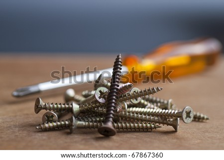 A group of screw with a screwdriver in the background