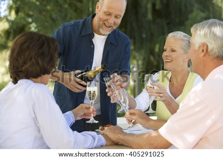 A group of senior couples celebrating - stock photo