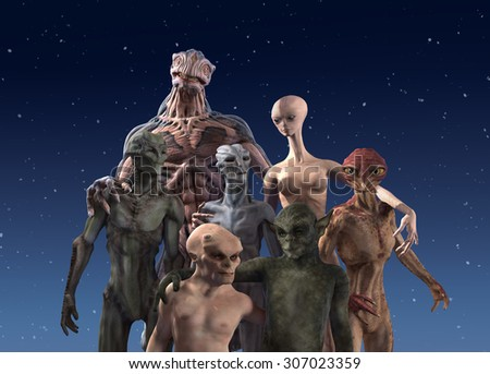 A group of seven alien races together for a portrait - 3d render. - stock photo