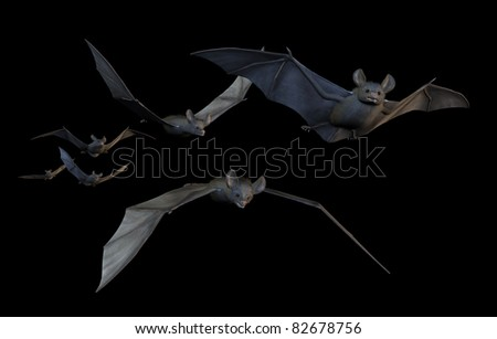 A group of six bats flying - 3D render with digital painting.