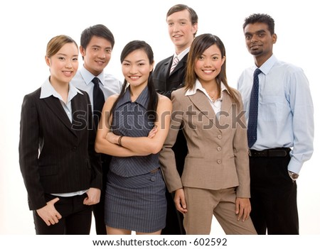 A group of six business people make a happy business team - stock photo