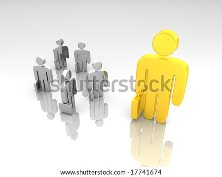 a group of small business pictograms and a large one - stock photo