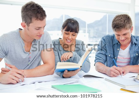 A group of smiling students sitting together as they all study - stock photo