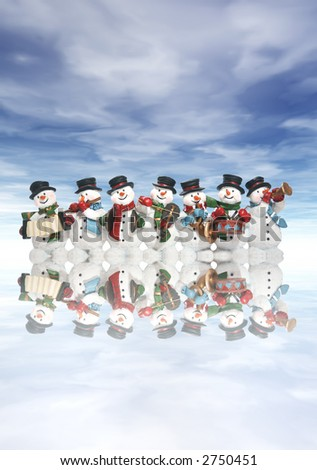 A group of snowmen playing music in the snow - stock photo