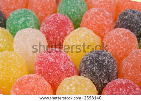 a group of sugared gumdrops