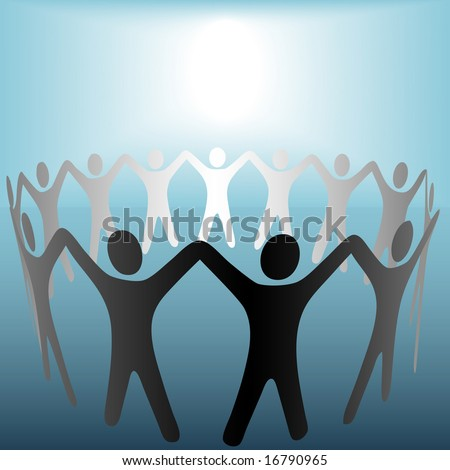 A group of Symbol People hold up arms to form a ring or team under a bright spot of copyspace. The people are on a clipping path.