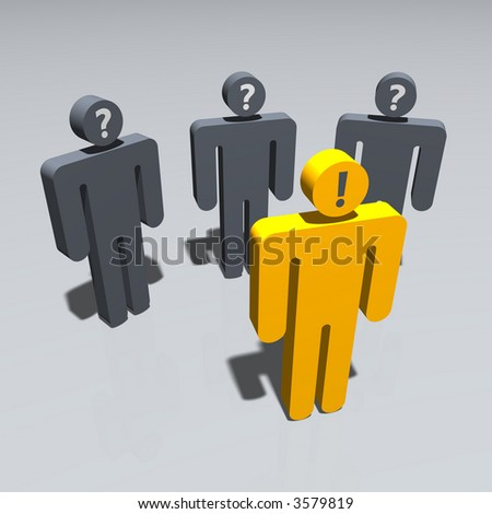 a group of symbolic figures, one in front of the others expressing knowledge - stock photo