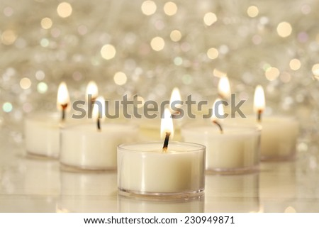 A group of tea lights for holiday celebrations - stock photo