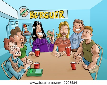 a group of teens eating a burgers and drinking beverages in the fast food - stock photo