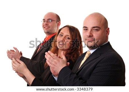 A group of three applauding, isolated on a white background. Looking at the camera - stock photo