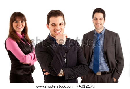 A group of three businesspeople isolated on white. - stock photo