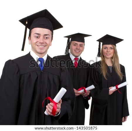 A group of three graduates, isolated on white, with one in front of the other two.