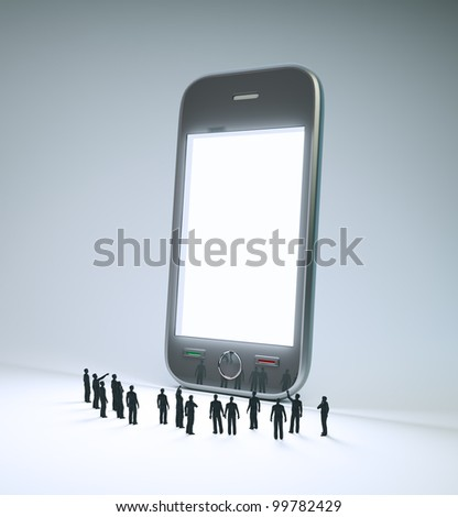A group of tiny people looking at a smartphone screen - stock photo