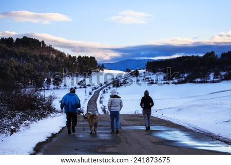 A group of tourists and dog on a winter walk in the winter mountain path  - stock photo