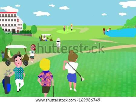 A group of women playing golf. - stock photo