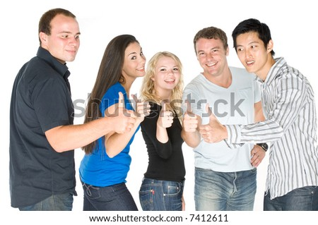 A group of young adults standing together on white background