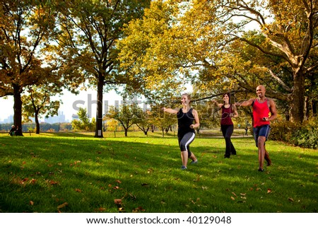 A group of young adults training martial arts in the park - stock photo