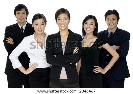 A group of young asian businesswomen and men in smart attire on white background