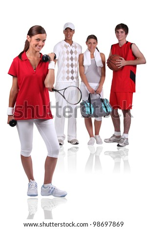 A group of young athletes - stock photo