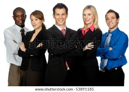 A group of young, attractive and diverse business professionals in formal wear standing together on white background - stock photo