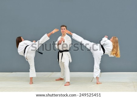 a group of young, beautiful women and men karate karate exercise positions
