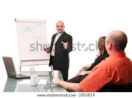 A group of young business people having a flip chart presentation. Isolated on white