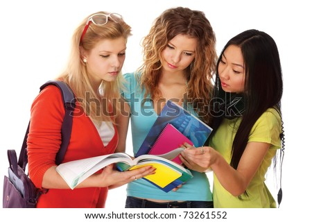 A group of young college girls - stock photo