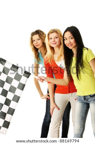 A group of young college girls holding a flag - stock photo