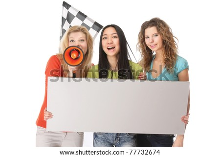 A group of young female college fans - stock photo