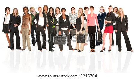 A group of young modern businesswoman of different ethnicity and backgrounds, isolated on white. For use as a business background. The front row of the business group is sharp