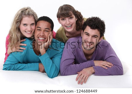 A group of young people hanging out together - stock photo