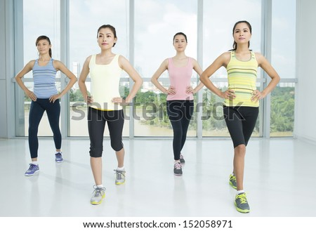 A group of young women in the aerobics class  - stock photo