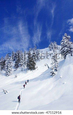 A group people are snowshoeing, trying to cross the snow mountain in BC, Canada.