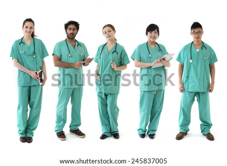 A group Portrait of five multi-ethnic Asian healthcare workers wearing uniforms. Medical team Isolated on a White Background.  - stock photo