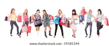 A  group shopping girls isolated on white background - stock photo