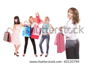 A  group shopping girls isolated on white background