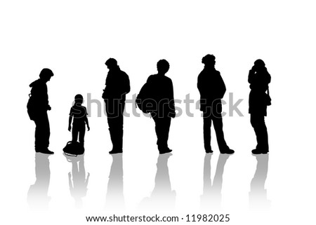 a group waiting bus - stock photo