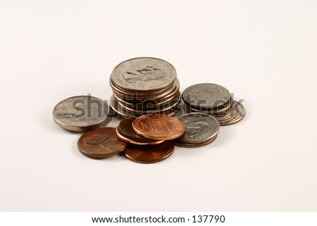 A grouping of United States coins. - stock photo