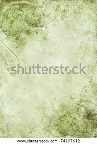 A grunge background design with swirls, floral patterns, brush strokes and paint splatters - stock photo