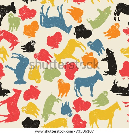 A grunge farm animals seamless pattern, abstract art - stock photo