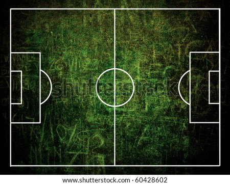 A grunge field of football seen by the sky - stock photo