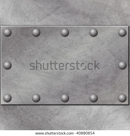 A Grunge Metal Background with Rivets
